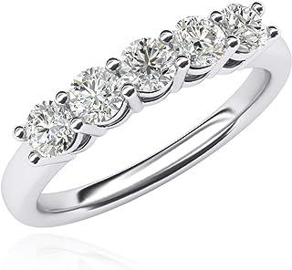 Anello in argento Sterling massiccio da donna con cinque pietre con diamanti sintetici da 1,25 ct in totale, per anniversario