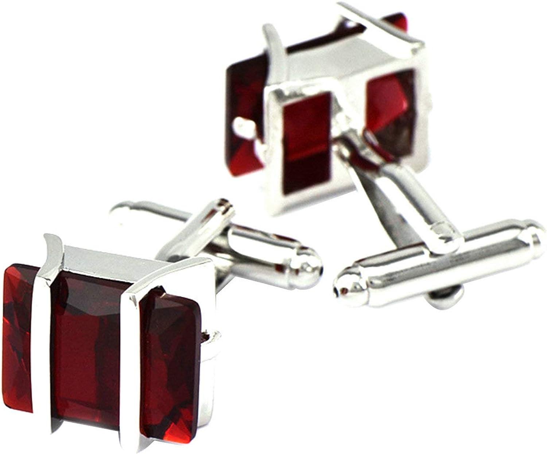 Daesar Cuff Links Copper Cufflink Stud Set Rectangular Cufflinks Shirt for Men Red