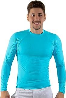 Camisa Térmica Segunda Pele Praia Masculina Proteção Uv Azul Claro