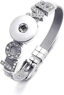 Mesh Bracelet Stainless Steel Snap Button Bracelet Novelty Crystal Love Charm Bracelet Belt Shape DIY Accessories