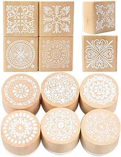 AZ DORADO 木製スタンプ 花柄レース 花柄模様 ゴム印 手紙用 グリーティングカード DIY デコレーション (12コセット)