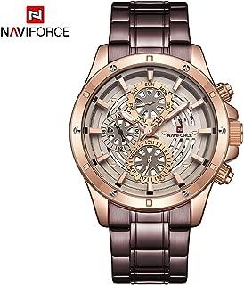 Anself NAVIFORCE NF9149 Men Brand Quartz Watch Luminous Fashion Casual Outdoor Sports Male Waterproof Wristwatch with Gift Box (Rose Gold)