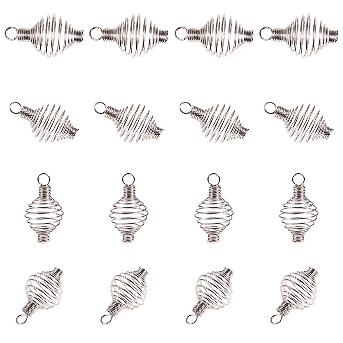 PandaHall 100 Pcs 304 Stainless Steel Wrap-Around Spiral Round Bead Cages Pendant Charm 34x19mm for Jewelry Making