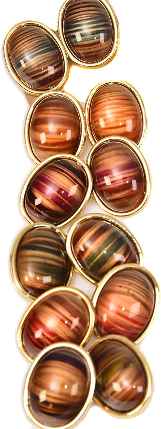 Fashion Jewelry ~ 6 Pairs Multi Color Oval Stripes Clip On Earrings for Women Girlfriends Gifts Casual Formal