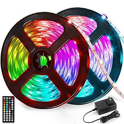 LED Strip Lights 32.8ft Kit - RGB Color Changing Light Strip Music Sync with 44 Keys Remote SMD 5050 Flexible LED Tape Lights for Bedroom Home Lighting Kitchen Bar DIY Room Decoration