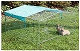 Kerbl 82845 Freilaufgehege Easy mit Sonnenschutz, verzinkt, 115 x 115 x 60 cm