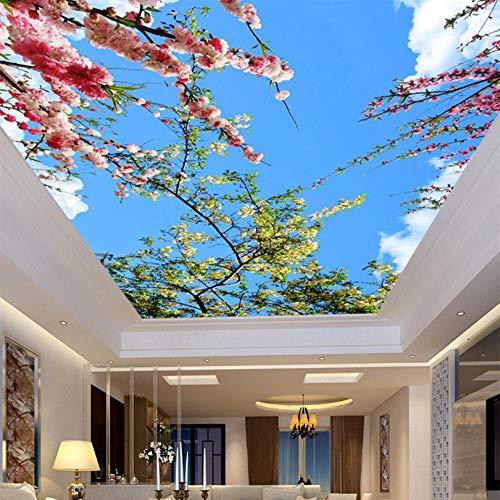 Shuangklei 3D muur muurschildering plafond op maat foto behang perzik bloesem woonkamer plafond muur papier muurschildering huisdecoratie Papel De Parede 400 x 280 cm.