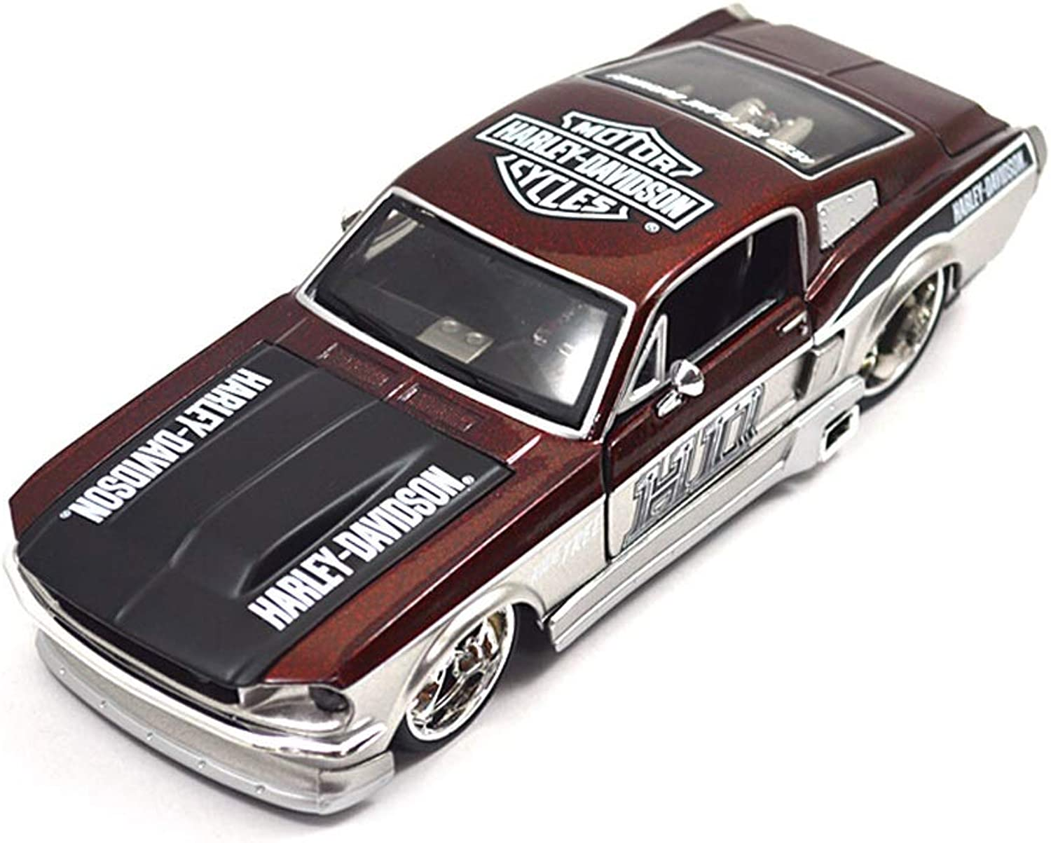 SHLINCar model 1967 Ford Mustang Home Decoration Car Model Toy Car Simulation Collection 1 24 (color   RED)