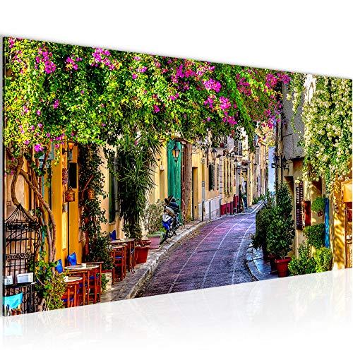 Wandbilder Blumen Toskana Modern Vlies Leinwand Wohnzimmer Flur Italienische Gasse Bunt 607712a