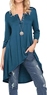 Naggoo Women's 3/4 Sleeve Button V Neck High Low Loose Fit Casual Long Tunic Tops Tee Shirts S-3XL