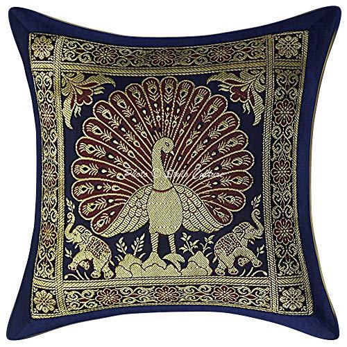 Stylo Culture Indisch Brokat Wohnzimmer Kissen 12 x 12 Inch Dekorativ Kissenbezug Marineblaues Gold Jacquard 30 x 30 cm Tanzen Pfau Traditionell Dekokissen Quadrat Kissenhülle (1 Piece)