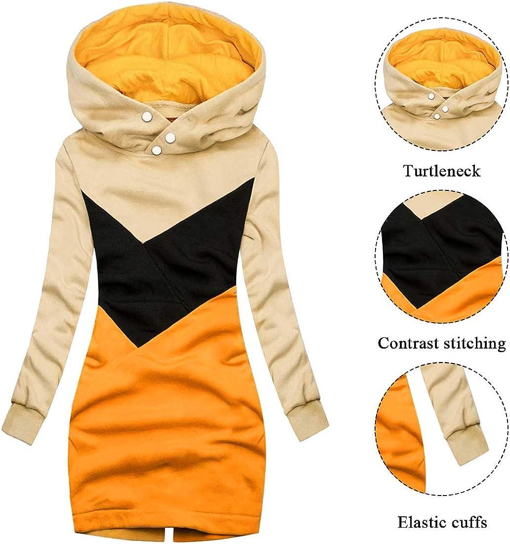 MoneRffi Damen Kapuzenpullover Winterjacke Hoodie Coat Langer Mantel Übergroßer warmer Rollkragen Parkas Reißverschluss mit Päckchen Langarm-Sweatshirt Kapuzenmantel B-gelb