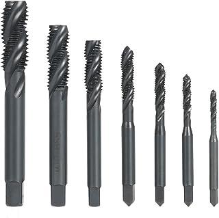 Tykeed 7PCS M3-M12 HSS Nitriding Coated Metric Spiral te Taps Machine & Manual Screw Thread Tap Set for Metal Wood Plastic...