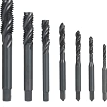 KKmoon 7PCS M3-M12 HSS Nitriding Coated Metric Spiral Flute Taps Machine & Manual Screw Thread Tap Set for Metal Wood Plastic Tapping