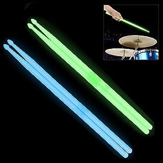 YiPaiSi 5A Luminous Light Up Drum Sticks, Luminous Light Up Drumsticks, Bright Luminous Glow in The Dark Drumsticks, Bright Light Up Drum Sticks (Blue)