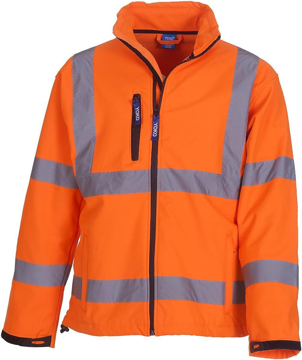 Yoko Mens Workwear Hi Visibility Plain/Two-Tone Softshell Jacket 4X-Large Orange