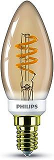 Philips LED Classic Bombilla, 15 W, Vela Filamento E14, Dorada, Efecto Llama, Regulable