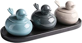 HIZLJJ Pots à épices, bols à sucre en céramique Pots à condiments Pots à épices Boîte d'assaisonnement avec couvercle Cuil...