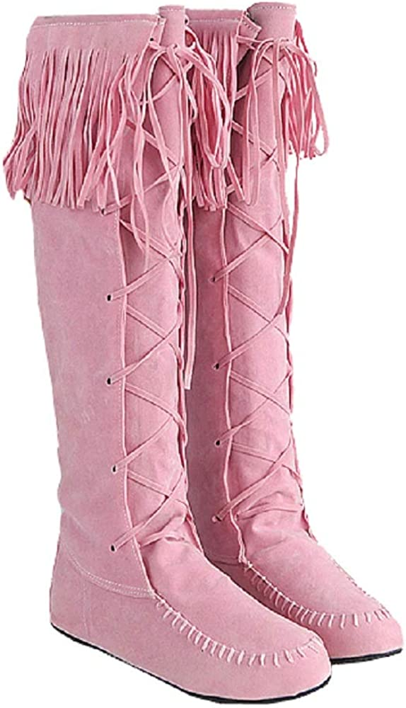 Women Winter Suede Flats Mid Calf Boots Lace Up Moccasin Fringed Knee High Boots Pink