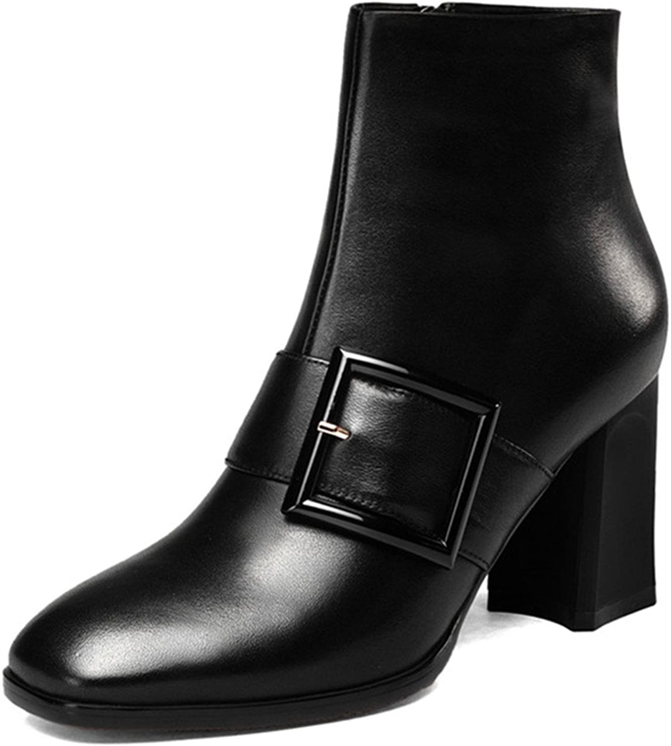 Nine Seven Genuine Leather Women's Square Toe Chunky Heel Handmade Boot with Zip
