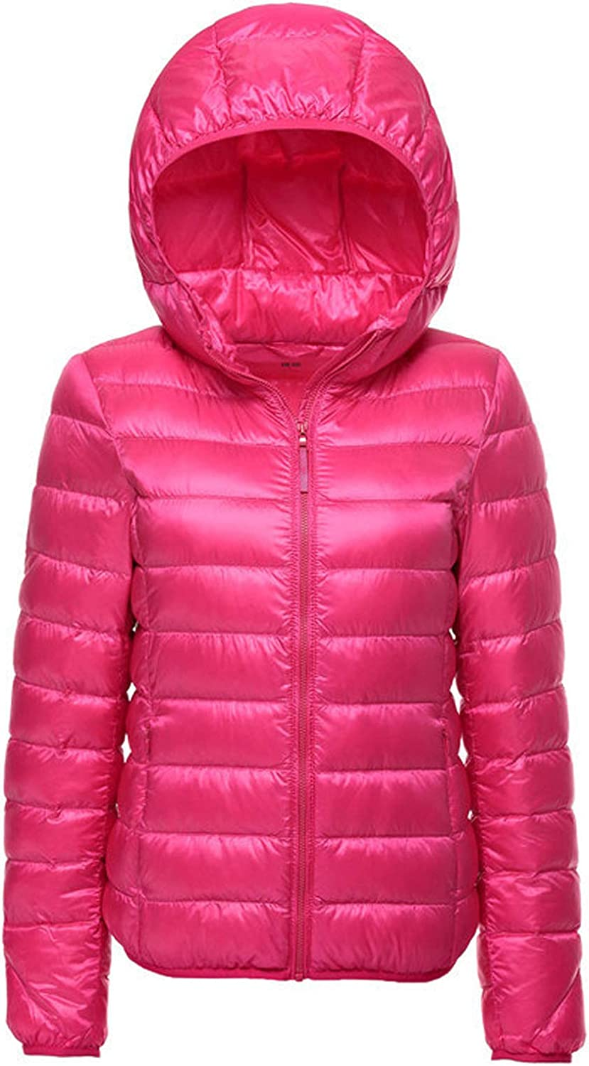 Flygo Women's Packable Lightweight Water-Resistant Hooded Quilted Down Puffer Jacket