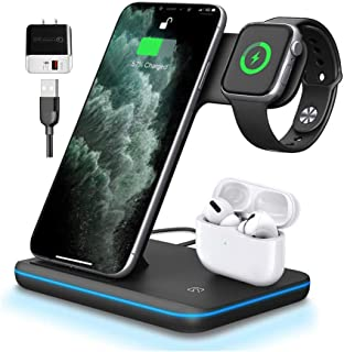 Wireless Charger 3 in 1 (Black) Qi-Certified 15W Charging Station for Apple Watch Series 1 2 3 4 5, Airpods 1 2, Compatibl...