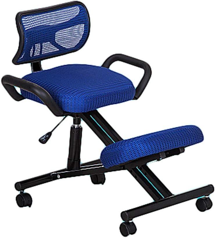 Bains de Soleil Chaises avec Repose-Genoux Ergonomique Genoux Chaise Posture Tabouret Réglable, avec Fauteuil Roulant avec Dossier (Color : Black) Blue