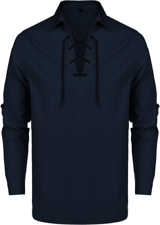 URRU Men's Pirate Shirt Scottish Deluxe Kilt excellence Ghillie Lac Jacobite