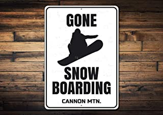 Gone Snow Boarding Sign, Personalized Ski Lodge Location Name Metal Decor, Custom Snowboarder Snow Lover Gift,Metal Aluminum Sign, 8