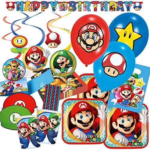 87-teiliges Party-Set Super Mario - Teller Becher Servietten Dekospiralen Girlande, Partytüten, Einladungen, Partyhütchen, Trinkhalme, Luftballons für 8 Kinder