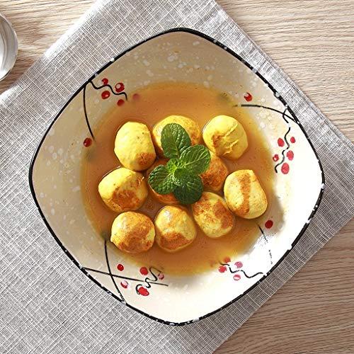 NiuLIli zastawa stołowa, ceramiczna miska, kwadrat, dom, restauracja, danie, sałatka owocowa, makaron, zastawa stołowa z ryżu, miska 24 x 5,5 cm