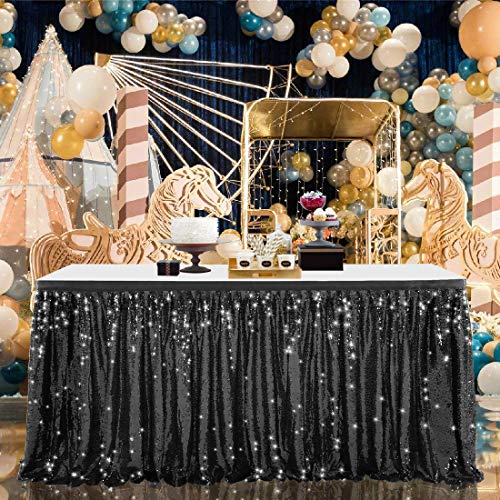 Falda de mesa rectangular con lentejuelas de 9 pies para mesa rectangular, mantel brillante para fiestas, despedidas de soltera, decoración de boda, falda de mesa negra (L 2,7 m, H 76,2 cm)
