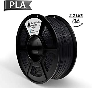 Dark Black PLA 3D Printer Filament 1.75 mm 1KG Spool(2.2lbs), Dimensional Accuracy +/- 0.02 mm,3D Printing Filament Black PLA