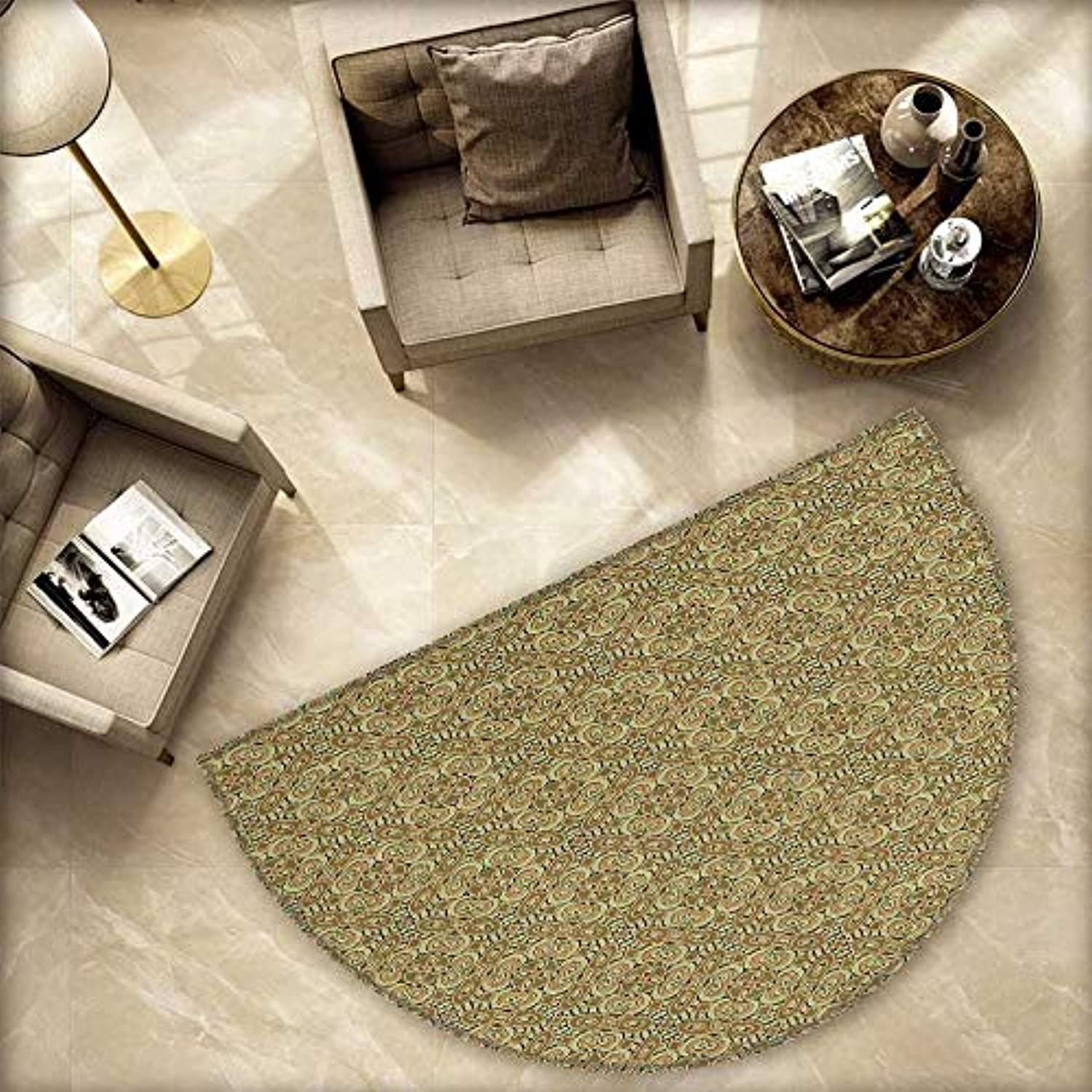 Traditional Semicircle Doormat Abstract Curly Green Ornament Arabesque Old Fashioned Ethnic Halfmoon doormats H 78.7  xD 118.1  Dark Green Pale Brown Yellow