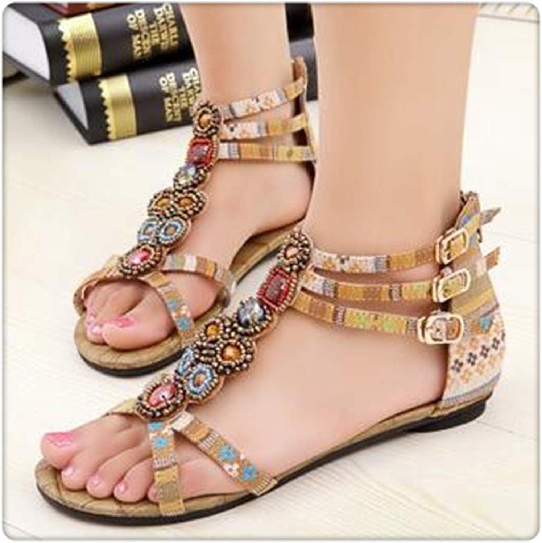 Xjizm Woman Bohemia Ethnic Flip Flops Soft Flat Sandals Comfortable Plus Size Wedge