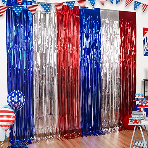 3 Packs 4th of July Party Tinsel Foil Fringe Curtains Red White Blue Photo Backdrops Props 4th of July Decorations America Patriotic Party Independence Day Memorial Day for American Theme