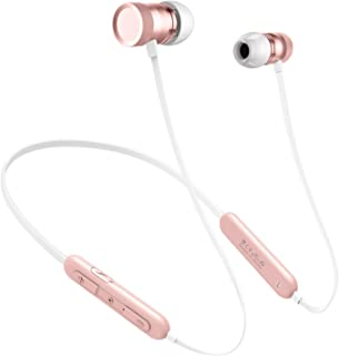 Picun Women Bluetooth Headphones Neckband 20H Playtime, Wireless Headphones Bluetooth 5.0 with HD Mic, Magnetic Sport Gym in-Ear Earphones for Running Workout IPX5 Sweatproof (Rose Gold)