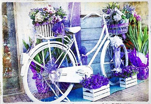 Puzzles personalizados 1000 piezas con foto y texto | Máxima calidad de impresión | Tamaño: 1000 piezas Bicicleta de flores antiguas