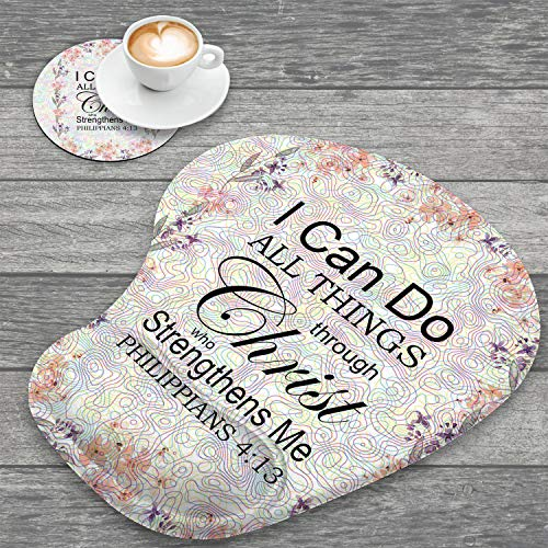Ergonomic Mouse Pad with Wrist Support and Coaster,Bible Verse Quotes Philippians 4:13 Non-Slip PU Base Ergonomic Design to Protect Your Wrist for Home Office Working Studying & Pain Relief