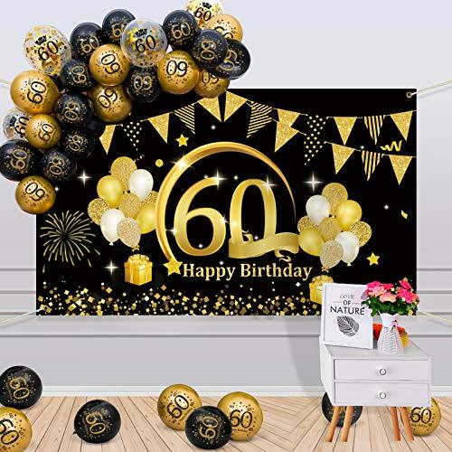 APERIL 60 Decorazioni Compleanno Oro Nero, 60 Anni Palloncini Compleanno per Uomo Donna, Poster di Tessuto Sfondo Fotografico 60° Festoni Compleanno Feste di Compleanno 60 Anni di Buon Compleanno