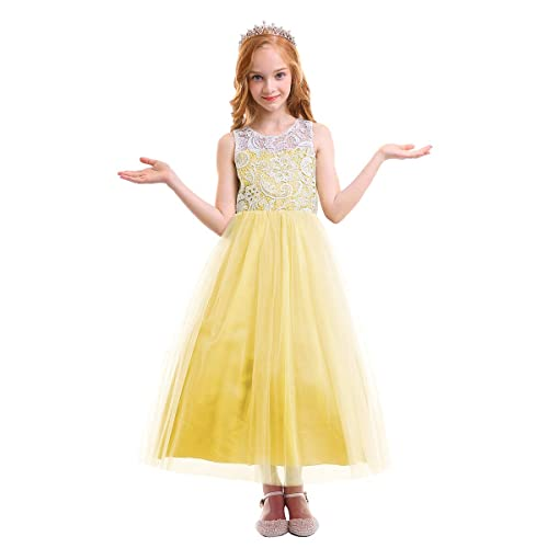 a58f31b3ea OBEEII Flower Girls Lace Tulle Maxi Dresses Sleeveless Princess Ball Gown  for Pageant Communion Ceremony Wedding