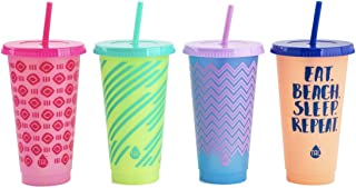 TAL Color Changing Tumbler & Straw Set. 24 oz. 4 Pack with Designs