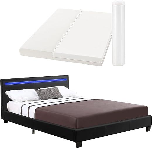 ArtLife Polsterbett Verona 120 × 200 cm – Bett komplett mit LED-Beleuchtung, Matratze und Lattenrost – Kunstleder Bezug – schwarz – Jugendbett
