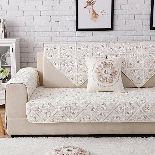 JiaQi Algodón Antideslizante Cubierta del sofá de Color sólido,Universal Resistente a Las Manchas Fundas sofá Multi-Size Cama a Prueba de Polvo-H 70x90cm(28x35inch)
