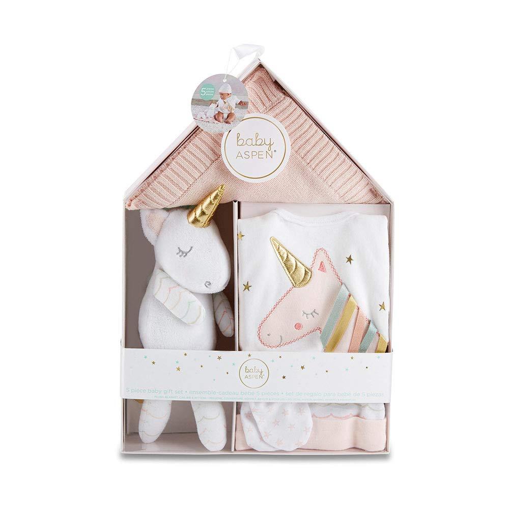 Baby Aspen Simply Enchanted Unicorn 5-Piece Welcome Home Gift Set, Light & Dark Pink/White/Aqua/Gold