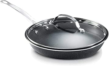 Granitestone Frying Pan Nonstick, Warp-Free, with Glass Lid and Stay-cool handles (11 inch)