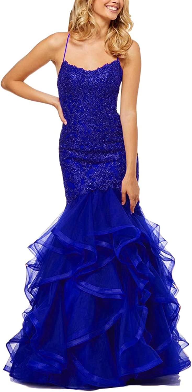 Yisha Bello Women's Applique Beaded Long Tulle Mermaid Pro Dress Spaghetti Straps Backless Ruffles Train Evening Formal Dress