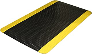 Durable Vinyl Diamond-Dek Sponge Industrial Anti-Fatigue Floor Mat, 3' x 5', Black with Yellow Border