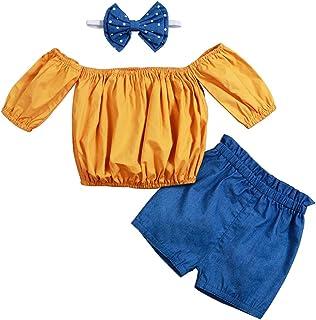 Baby Girl Clothes Ruffled Outfits Off Shoulder Crop Tops Denim Shorts+Headband 3PCS Set