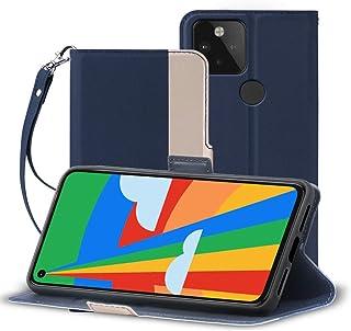 A-VIDET Google Pixel 5 ケース PUレザー素材 手帳型 Google Pixel 5ケース ストラップ付き・全面保護・カード収納・横置き機能対応 (ネイビーブルー)